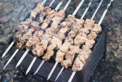 мясо зажаренное пожаром Стоковые Изображения