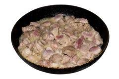 Мясо зажарено в сковороде стоковое фото