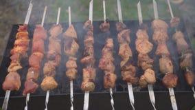 Мясо зажарено на гриле видеоматериал