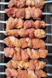 Мясо зажарено на ручках на угле стоковая фотография rf