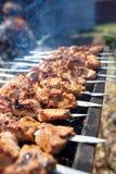 Мясо зажарено на ручках на угле стоковые изображения