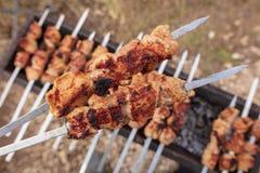 Мясо зажарено на ручках на угле стоковое фото rf