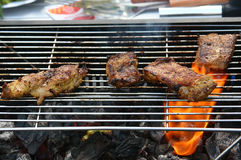 мясо зажженное bbq Стоковое Изображение RF