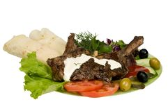 мясо изолированное быстро-приготовленное питанием Стоковые Фотографии RF