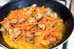 Мясо и морковь стоковые изображения rf