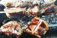 Мясо на протыкальнике на огне Стоковая Фотография