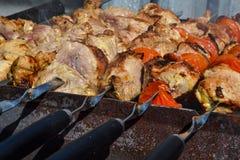 Мясо свинины, сделанное как shish kebab на пикнике на открытом воздухе стоковая фотография rf