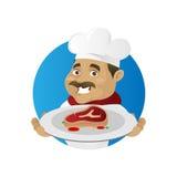 Мясо сервировки шеф-повара Стоковое Изображение RF