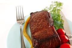 мясо тарелки блока голубое Стоковые Изображения RF