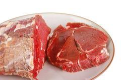мясо тарелки говядины сырцовое Стоковые Изображения RF