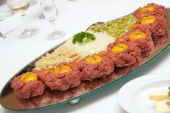 мясо тарелки сырцовое Стоковые Изображения RF