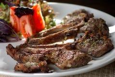 мясо теста тарелки вне Стоковое Фото