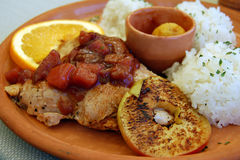 Мясо Турции с плодоовощами и рисом Стоковое фото RF