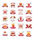 Мясо, цыпленок, ярлыки сосиски пакует - логотип для рынка, магазина, фермы иллюстрация вектора