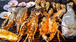 Мясо seashell гриля барбекю омара стоковая фотография rf