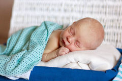 Младенец слипераnewbornв белой коробке Стоковые Фотографии RF