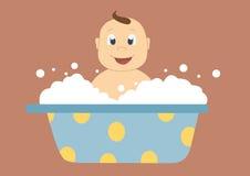 младенец в ванне с пузырями, иллюстрациями вектора Стоковое Изображение RF