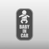 Младенец в значке автомобиля Стоковая Фотография RF