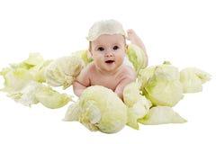Младенец в капусте Стоковые Фотографии RF