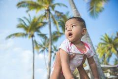Младенец в парке наслаждаясь летом под кокосовой пальмой стоковая фотография