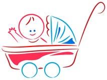 Младенец в тележке иллюстрация вектора