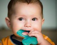 Младенец жуя на кольце прорезывания зубов Стоковые Фото