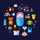 Младенец забавляется комплект значка бесплатная иллюстрация