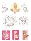 Младенец защищенный элементами логотипа значков рук иллюстрация вектора