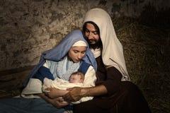 Младенец Иисус в сцене рождества Стоковые Фотографии RF
