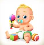 Младенец и игрушки, значок вектора иллюстрация вектора