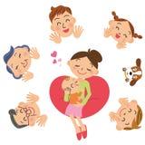 Младенец и семья Стоковая Фотография