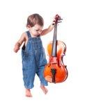 Младенец и скрипка Стоковые Фото
