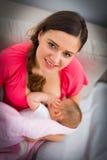 Младенец матери подавая Стоковая Фотография