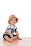 Младенец 9 месяцев старый с взглядом матроса Стоковое Изображение