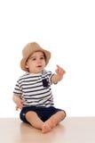 Младенец 9 месяцев старый с взглядом матроса Стоковая Фотография