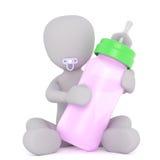 Младенец Мультяшка с розовой бутылкой Стоковые Изображения RF