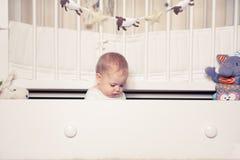 Младенец наслаждается сыграть с игрушкой в комнате детей Младенец сидя в коробке для игрушек в кроватке Стоковая Фотография