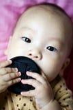 Младенец пробует крышку объектива Стоковые Фотографии RF