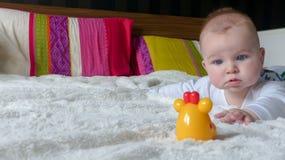 Младенец пробуя достигнуть игрушку Стоковые Изображения