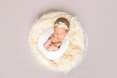 Младенец спать на желтой подушке, topshot стоковая фотография rf