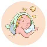 Младенец спать сладостно иллюстрация вектора