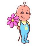 младенец с гигантским цветком Стоковая Фотография RF