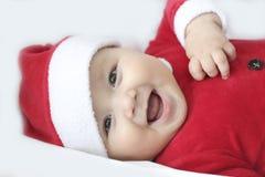 Младенец с костюмом Санта Клауса стоковая фотография