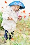 Младенец с маками стоковое фото rf
