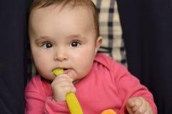 Младенец с ложкой Стоковые Фотографии RF