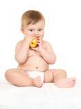 Младенец с яблоком стоковое фото rf