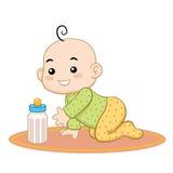 Младенец хочет ее бутылку молока Стоковая Фотография RF
