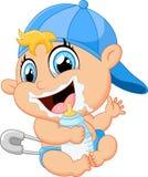 Младенец шаржа держа бутылку Стоковые Изображения