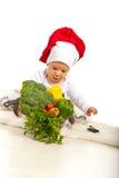 Младенец шеф-повара с много овощей стоковая фотография rf