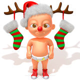 Младенец Jake с иллюстрацией Antlers 3d северного оленя рождества Стоковое Изображение
